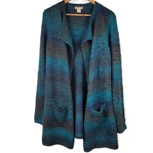 Lucky Brand Open Front Cardigan Sweater Ombre Blue Tone Size Small